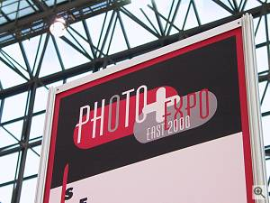 The PhotoPlus Expo East logo - there was no fancy sign outside the show, but the spectacular Jacob Javits convention center architecture made up for it... Copyright (c) 2000, Michael R. Tomkins, all rights reserved. Click for a bigger picture!