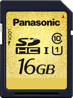 Panasonic's 16GB RP-SDY16G SDHC UHS-I memory card. Photo provided by Panasonic Corp. Click for a bigger picture!