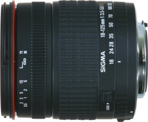 Sigma's 18 - 125mm F3.5 - 5.6 DC lens. Courtesy of Sigma, with modifications by Michael R. Tomkins.
