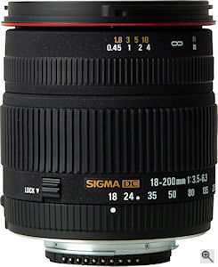 Sigma's 18-200 f3.5-6.3 DC lens in Nikon mount form with built-in focusing motor. Courtesy of Sigma, with modifications by Michael R. Tomkins. Click for a bigger picture!