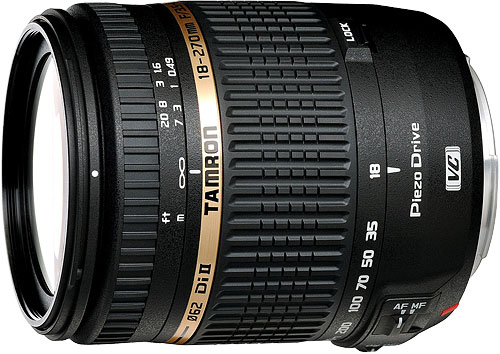 Tamron's 18-270mm F/3.5-6.3 Di II VC PZD (Model B008) DSLR lens. Photo provided by Tamron Co. Ltd. Click for a bigger picture!