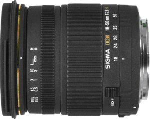 Sigma's 18 - 50mm F2.8 EX DC lens. Courtesy of Sigma, with modifications by Michael R. Tomkins.