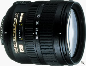 Nikon's AF-S DX Nikkor 18-70mm F/3.5-4.5G IF-ED Lens. Courtesy of Nikon, with modifications by Michael R. Tomkins. Click for a bigger picture!