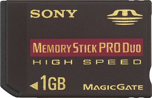 Sony's 1GB MagicGate Memory Stick PRO Duo High Speed card. Courtesy of Sony, with modifications by Michael R. Tomkins. Click for a bigger picture!