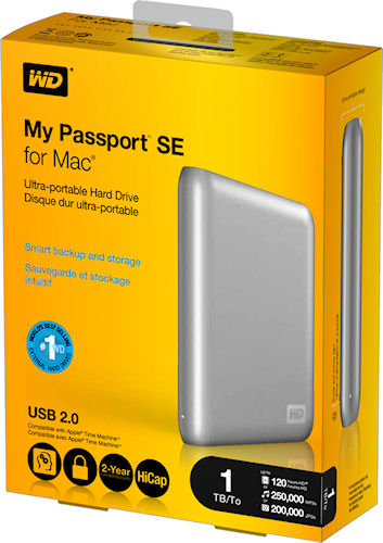 Product packaging for the 1TB My Passport SE for Mac external hard drive. Photo provided by Western Digital Technologies. Click for a bigger picture!