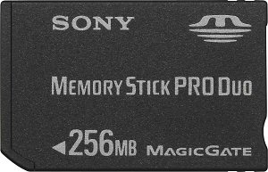 Sony's 256MB MagicGate Memory Stick PRO Duo card. Courtesy of Sony, with modifications by Michael R. Tomkins. Click for a bigger picture!