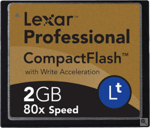 Lexar's 2GB 80X Lt CompactFlash card. Courtesy of Lexar, with modifications by Michael R. Tomkins. Click for a bigger picture!