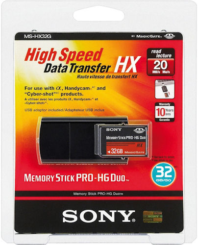 Sony's 32GB Memory Stick PRO HG Duo card in blister packaging. Photo provided by Sony Europe. Click for a bigger picture!