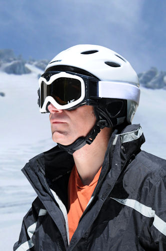 The Summit Series HD video camera snow goggle in use. Photo provided by Liquid Image Co. LLC. Click for a bigger picture!