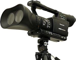 Panasonic is exhibiting a conceptual model of a 3D Full HD Camera Recorder at the 2009 NAB Show where it announced it would start development of a 3D Full HD Production System. Photo provided by Panasonic Corp.. Click for a bigger picture!