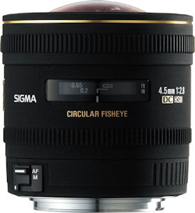 Sigma's 4.5mm F2.8 EX DC Circular Fisheye lens. Courtesy of Sigma, with modifications by Michael R. Tomkins. Click for a bigger picture!