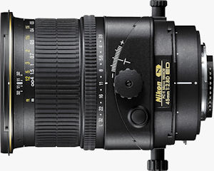 Nikon's PC-E Micro Nikkor 45mm f/2.8D ED lens. Courtesy of Nikon, with modifications by Michael R. Tomkins. Click for a bigger picture!