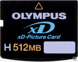 Olympus' 512MB Type H-Series xD-Picture Card. Courtesy of Olympus, with modifications by Michael R. Tomkins. Click for a bigger picture!