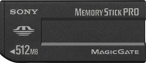 Sony's 512MB MagicGate Memory Stick PRO card. Courtesy of Sony, with modifications by Michael R. Tomkins. Click for a bigger picture!