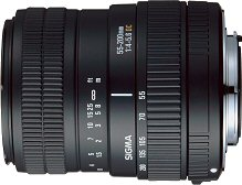 Sigma's 55 - 200mm F4 - 5.6 DC lens. Courtesy of Sigma, with modifications by Michael R. Tomkins.
