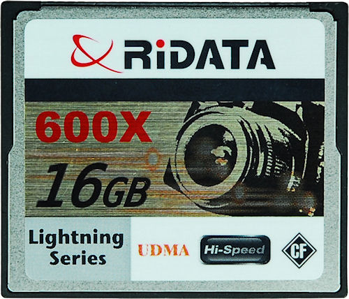 Ritek's RiDATA 600x 16GB Lightning Series UDMA CompactFlash card. Photo provided by Advanced Media Inc. Click for a bigger picture!
