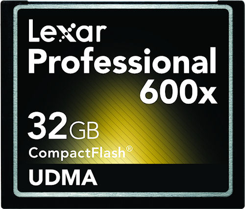 Lexar's 32GB Professional 600x UDMA CompactFlash card. Photo provided by Micron Technology Inc. Click for a bigger picture!