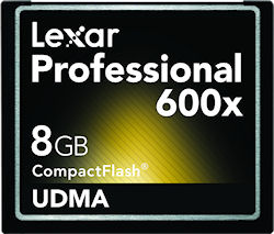 Lexar's 8GB Professional 600x UDMA CompactFlash card. Photo provided by Micron Technology Inc. Click for a bigger picture!