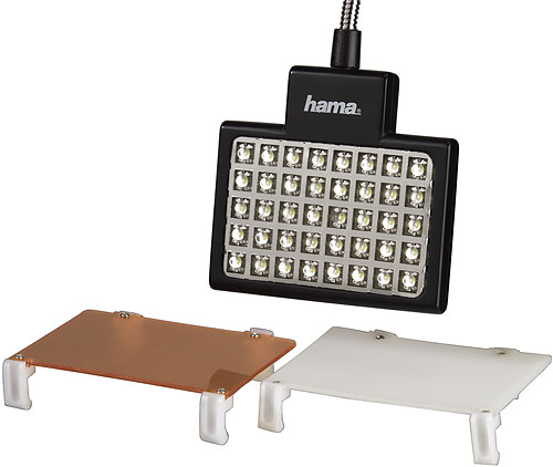 Hama's LED Panel includes orange and diffiuser filters. Photo provided by Hama GmbH & Co. KG. Click for a bigger picture!