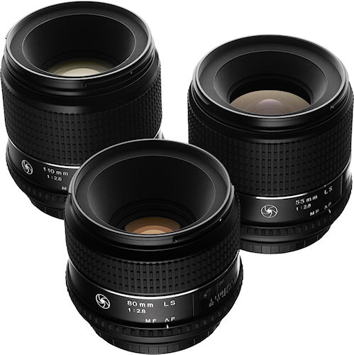 The newly developed 110mm, 80mm and 55mm F2.8 lenses (left to right) for Phase One 645DF and Mamiya 645DF cameras. Photo provided by Phase One A/S. Click for a bigger picture!