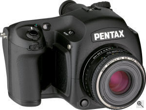 Pentax's 645 Digital. Courtesy of Pentax, with modifications by Michael R. Tomkins. Click for a bigger picture!