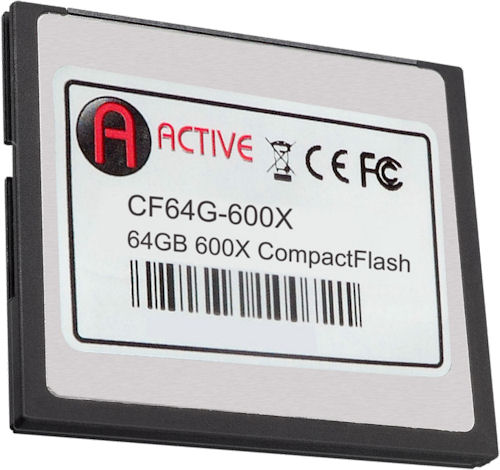 Active Media Products' 64GB 600x Pro series CF card. Photo provided by Active Media Products Ltd. Click for a bigger picture!