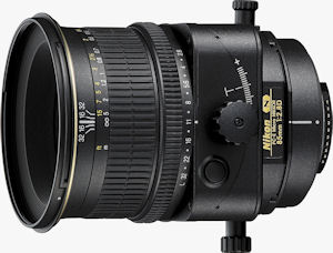 Nikon's PC-E Micro Nikkor 85mm f/2.8D lens. Courtesy of Nikon, with modifications by Michael R. Tomkins. Click for a bigger picture!