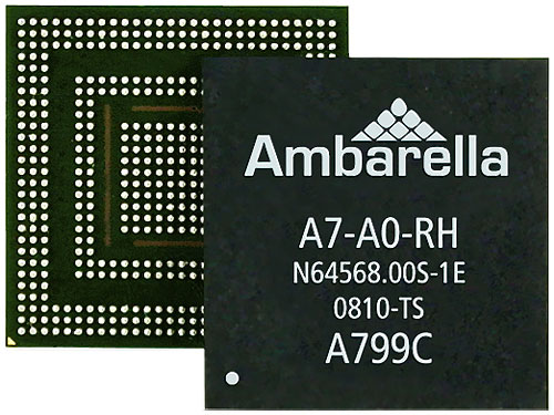 Ambarella's A7 HD SOC. Photo provided by Ambarella.