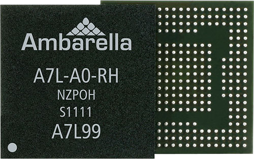 The Ambarella A7L system-on-chip is capable of thirty 16-megapixel frames per second, 60fps Full HD video with H.264 compression, and a variety of functions such as sweep panorama, HDR imaging, and image stacking. Photo provided by Ambarella Inc. Photo provided by Ambarella Inc. Click for a bigger picture!