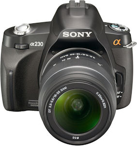 Sony's Alpha DSLR-A230 digital SLR. Photo provided by Sony Electronics Inc. Click for a bigger picture!