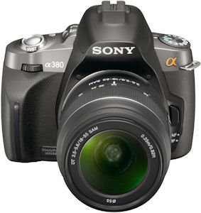 Sony's Alpha DSLR-A380 digital SLR. Photo provided by Sony Electronics Inc. Click for a bigger picture!