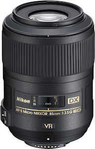 Nikon's AF-S DX Micro NIKKOR 85mm f/3.5G ED VR lens. Photo provided by Nikon Inc. Click for a bigger picture!