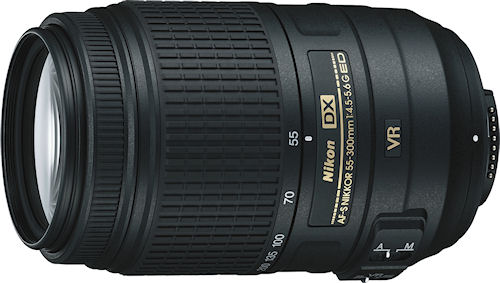 Nikon's AF-S DX NIKKOR 55-300mm f/4.5-5.6G ED VR lens. Photo provided by Nikon Inc. Click for a bigger picture!