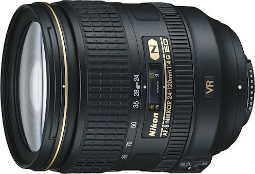 Nikon's AF-S NIKKOR 24-120mm f/4 G ED VR lens. Photo provided by Nikon Inc. Click for a bigger picture!
