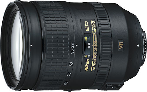 Nikon's AF-S NIKKOR 28-300mm f/3.5-5.6G ED VR lens. Photo provided by Nikon Inc. Click for a bigger picture!