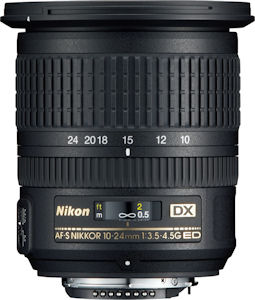 Nikon's AF-S DX NIKKOR 10-24mm f/3.5-4.5G ED lens. Photo provided by Nikon Inc. Click for a bigger picture!