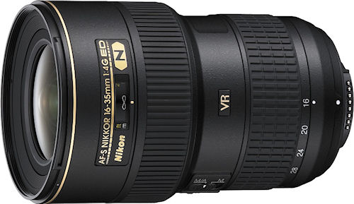 The Nikon AF-S Nikkor 16-35mm 1:4G ED lens. Photo provided by Nikon Inc. Click for a bigger picture!