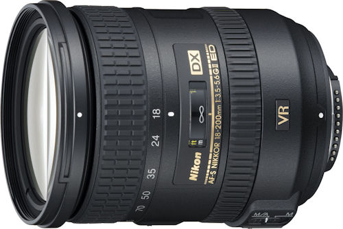 Nikon's AF-S DX NIKKOR 18-200mm f/3.5-5.6 ED VR II lens. Photo provided by Nikon Inc. Click for a bigger picture!