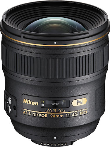 The Nikon AF-S Nikkor 24mm 1:1.4G ED lens. Photo provided by Nikon Inc. Click for a bigger picture!