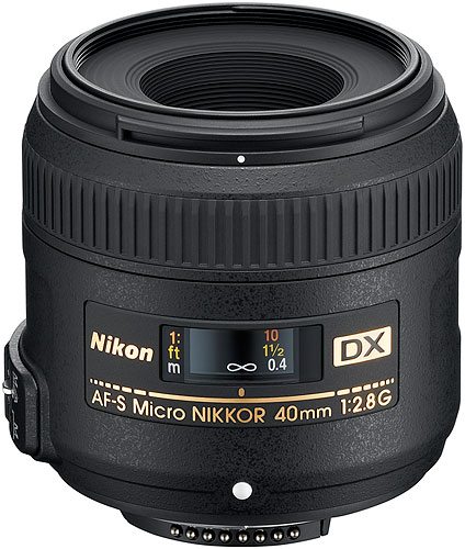 Nikon's AF-S DX Micro NIKKOR 40mm f/2.8G lens. Photo provided by Nikon Inc. Click for a bigger picture!