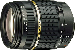 Tamron's AF18 - 200mm F/3.5 - 6.3 XR Di-II LD Aspherical (IF) MACRO lens. Courtesy of Tamron, with modifications by Michael R. Tomkins.