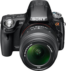 Sony's Alpha SLT-A55V digital SLR. Photo provided by Sony Electronics Inc. Click for a bigger picture!