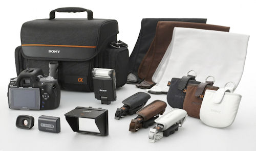 Sony's latest DSLRs can be outfitted with color-coded accessories. Photo provided by Sony Electronics Inc. Click for a bigger picture!