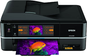 Epson's Artisan 800 all-in-one. Courtesy of Epson, with modifications by Michael R. Tomkins. Click for a bigger picture!