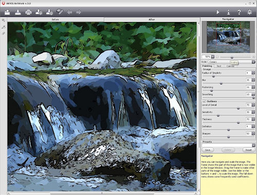 AKVIS Artwork v3.0, showing the Comics effect in use. Screenshot provided by AKVIS Software Inc. Click for a bigger picture!