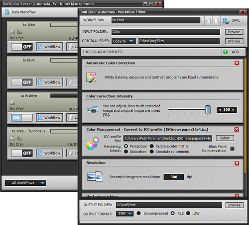 Editing a Print workflow in Server Automata 1.0. Screenshot provided by SoftColor Oy. Click for a bigger picture!