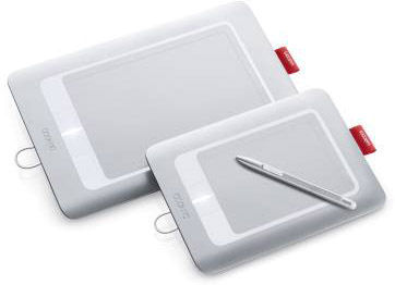 Wacom's multi-touch Bamboo Craft (front) and Fun (rear) tablets. Photo provided by Wacom.