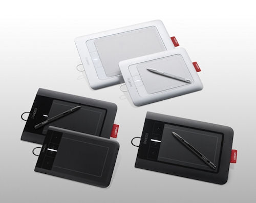 Wacom's multi-touch Bamboo tablet product family. Photo provided by Wacom. Click for a bigger picture!