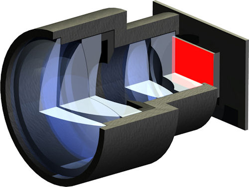 Model of the mini beamer: the OLED display can be seen to the right at the back. The lens system projects the image onto a wall. Rendering provided by Fraunhofer IOF. Click for a bigger picture!