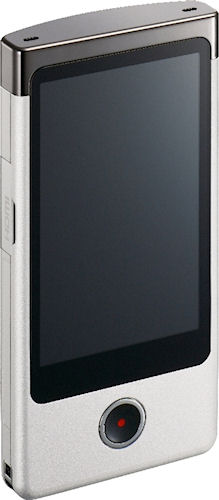 Sony's Bloggie Touch pocket video camera, front view. Photo provided by Sony Electronics Inc. Click for a bigger picture!